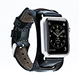 Apple Watch 3 Series 38mm Blue Jay Genuine Leather Handmade Premium Luxury Replacement Black Cuff Band Strap Compatible Apple Watch 1&2 Series (Black)