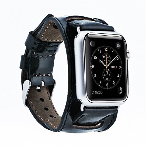 Bluejay Compatible Leather Cuff Watch Band for Apple Watch, 2 in 1 Cuff Design for Apple Watch Series 4 3 2 1 (Black, 42mm-44mm) ()