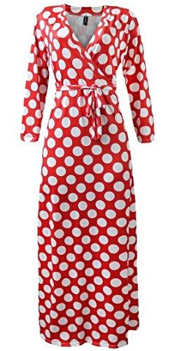 Jaycargogo Impression De Point D'été Des Femmes V Col Haut Robe Maxi Swing Taille 6