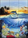 Ceramic Tile Mural - Dolphin Lagoon - by Robin Koni - Kitchen backsplash / Bathroom shower
