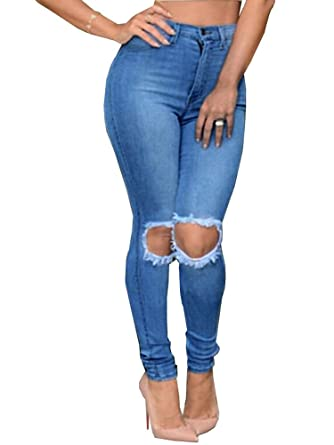 bccad762ce OLRAIN Womens Long Jeans Destroyed Ripped Hole Trousers Denim Pants 4 Blue-3