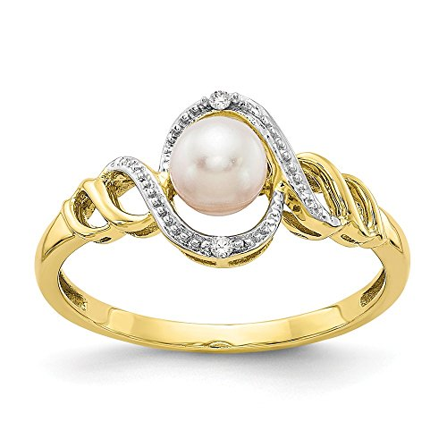Mia Diamonds 10k Solid Yellow Gold (.02cttw) Fw Cultured Pearl Diamond Ring 10k Gold Fw Pearl