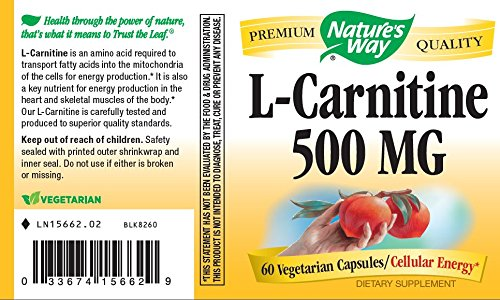 Nature's Way L Carnitine 500 MG, 60 Vcaps