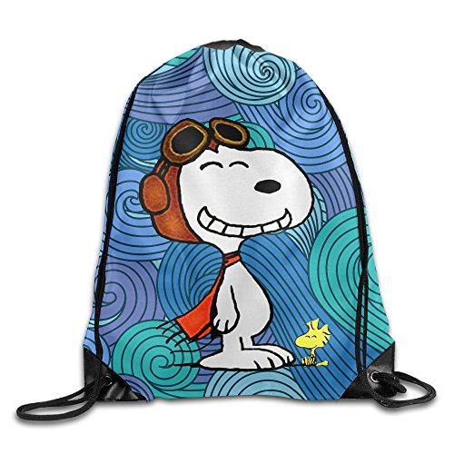 Creative Design Snoopy And Charlie Brown Drawstring Backpack Sport Bag For Men And Women