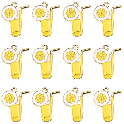 Monrocco 20Pcs Enamel Lemon Cups Charm Enamel Charms for Jewelry Making Bracelet Necklace and Crafting