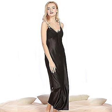 2717e1246d Curve Bay Women s Silk Satin Elegant Long Nightgown Pajamas Sleepwear  Spaghetti Strap Robe (US 2