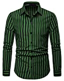 WHATLEES Men's Long Sleeve Vertical Striped Casual Slim fit Button Down Dress Shirt