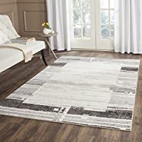 Safavieh Evoke Collection EVK492C Modern Abstract Border Cream and Dark Grey Area Rug (4 x 6)