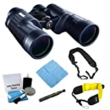 Bushnell 157050 H20 7X50 Waterproof/Fogproof Porro Prism Binocular with Floating Foam Strap + Wide Strap and Lens Cleaning Tool Kit