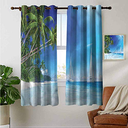 petpany Blackout Curtains 2 Panels Sailboat Nautical,Beach and Trees,for Room Darkening Panels for Living Room, Bedroom 42