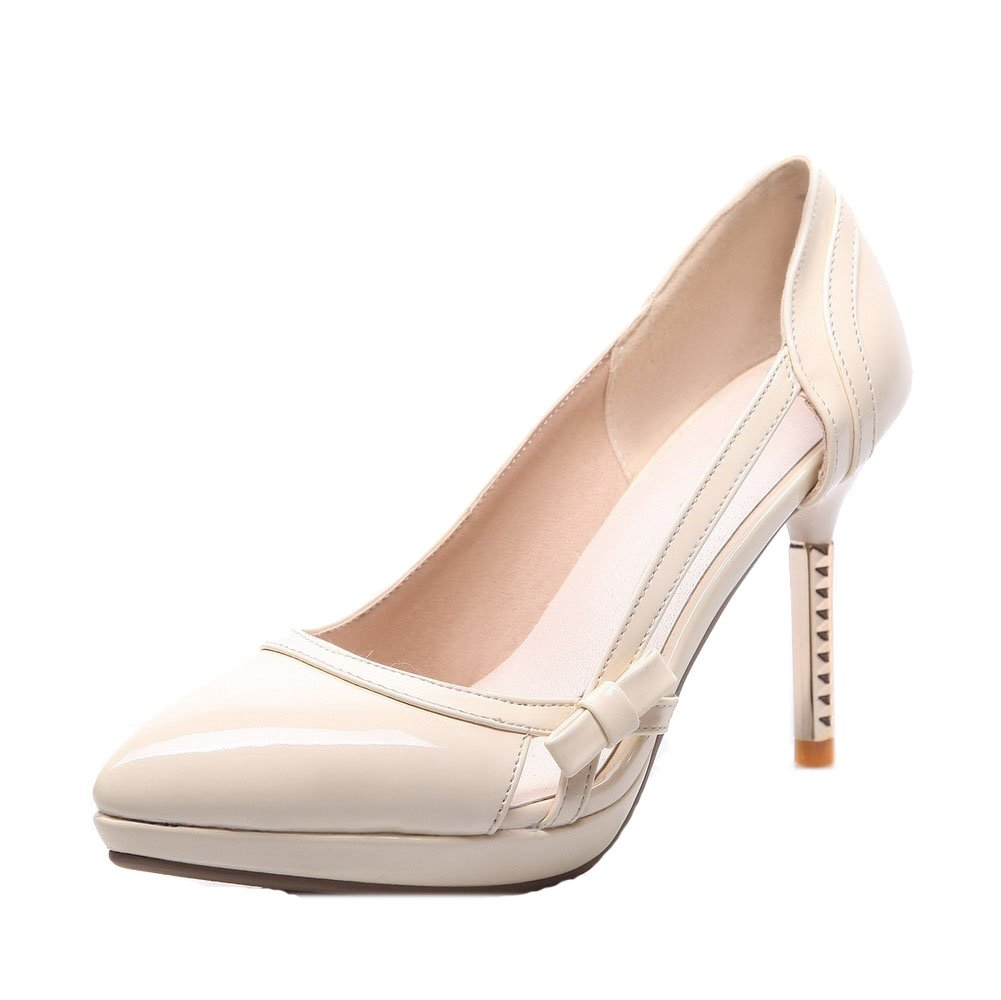 WeiPoot Women's Pointed Closed Toe Pull-on PU Solid High-Heels Pumps-Shoes Bow-Tie, Beige, 37 by WeiPoot
