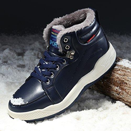 Santimon Leren Snowboots Heren Enkellaarsjes Sneakers Hoge Top Winterschoenen Met Bontvoering Donkerblauw