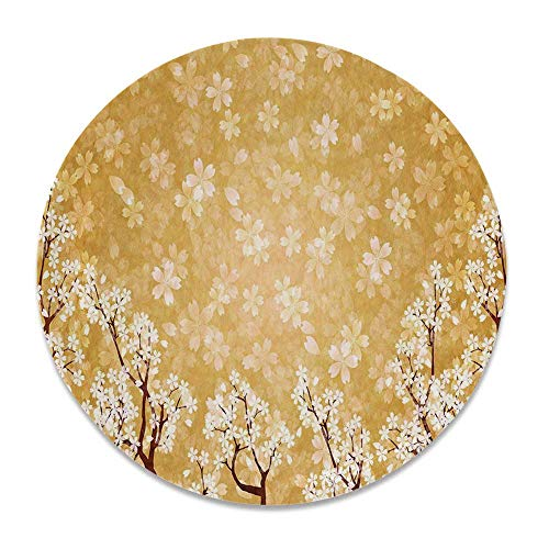 (YOLIYANA Floral Decor Ceramic Decorative Plate,Trees Blossoms Buds Flowers of Spring Season Pedals Bodies in Wind Image for Home Décor,8 inch)