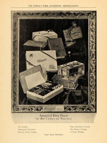Sampler Print (1922 Ad Whitman's Chocolate Nuts Candies Sampler Box - Original Print Ad)