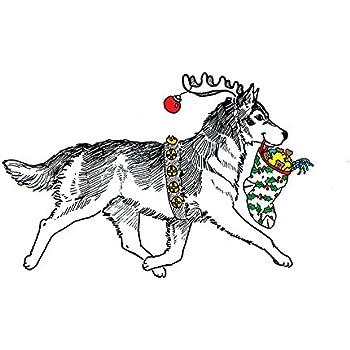 Amazon Com Siberian Husky Christmas Card Santas Helpers Inside