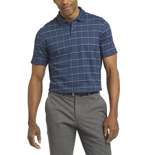 Van Heusen Men's Printed Short Sleeve Windowpane Polo Shirt, Sea Navy, XX-Large ()