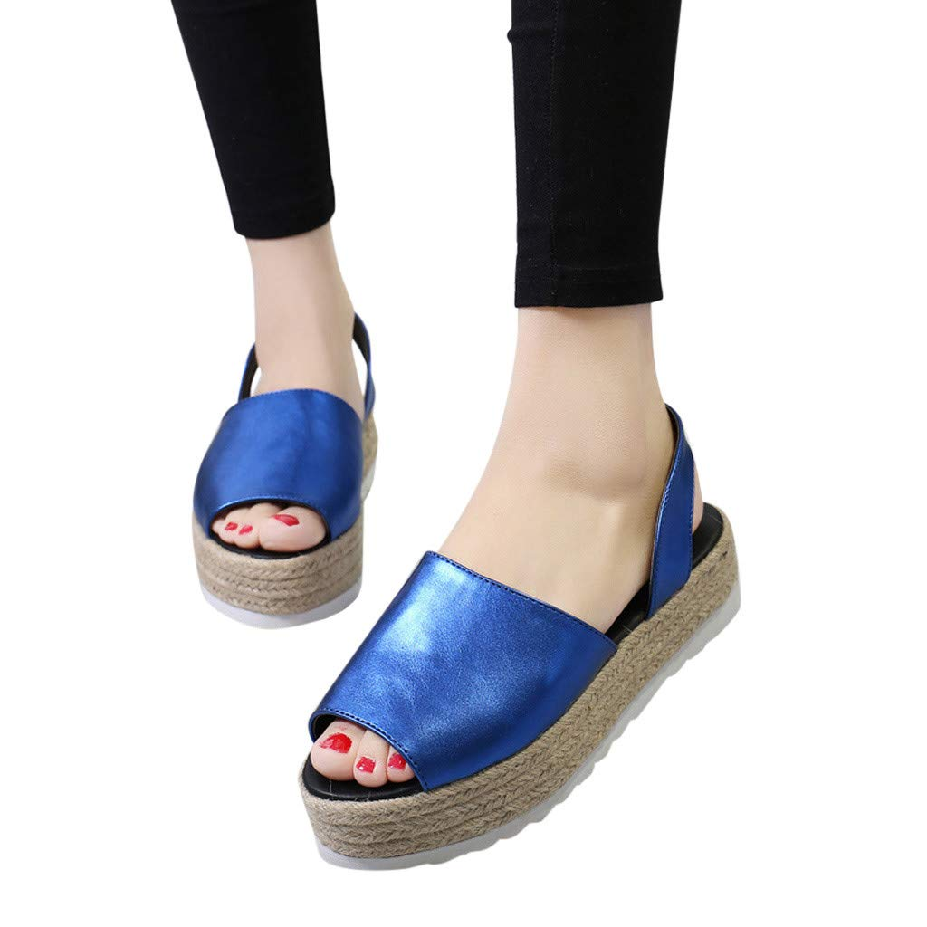 Tsmile Women Sandals Ladies Summer Flat Waterproof Platform Woven Thick-Bottom Sandals Roman Shoes
