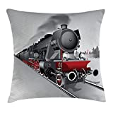 Steam Engine Throw Pillow Cushion Cover, Locomotive Red Black Train with Headlights on Steel Railway Track Graphic Print, Decorative Square Accent Pillow Case, Red Grey
