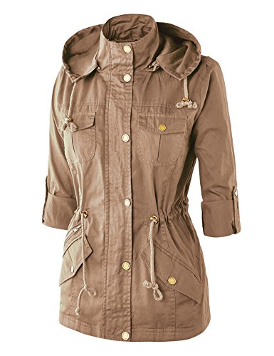 WJC643 Womens Pop Of Color Parka Jacket L Khaki by Lock and Love (Image #3)