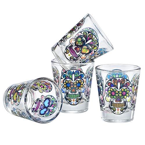 Culver Sugar Skulls Decorated Shot Glasses, 1.75-Ounce, Set of 4 ()