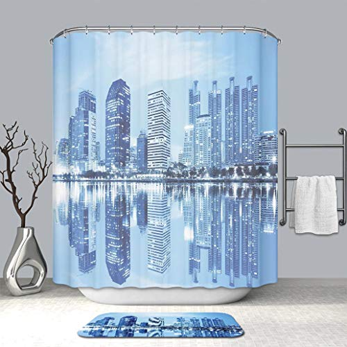 3d print Multi Style Shower curtain And bath mat Blue Night Scene of City Buildings Architecture Twilight Water Reflection Metropolitan Blue Fabric Bathroom Curtains with Non-Slip Floor Doormat Rugs