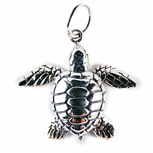 Silver Sea Turtle Necklace - Sea Turtle Necklace - Handmade Balinese Sterling Silver Pendant with Artisan Batik Gift Bag and Box