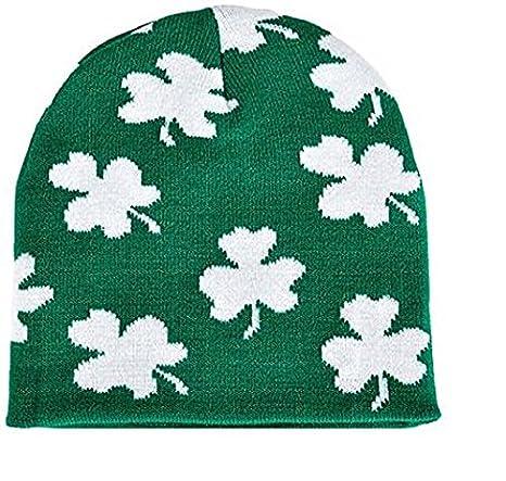 Irish Shamrock Beanie Hat St Patrick Day Clover Ski Cap Hat
