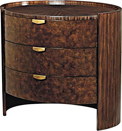 (Scarborough House Nightstand Myrtle Burl Zebrano Brass Sleek Deco Oval 3Drawer)