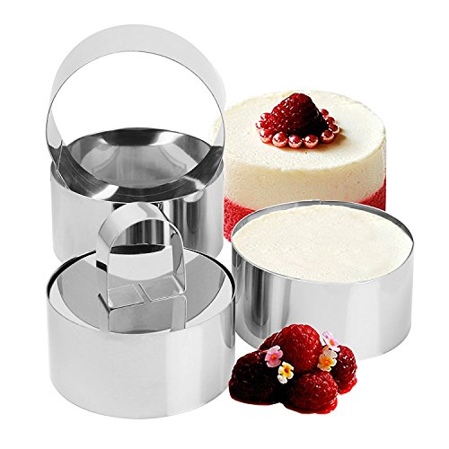 Set of 4 Cake Rings, Professional Stainless Steel Food Tower Presentation Cooking Rings with Food Press-Round Forms Three Ring One Press