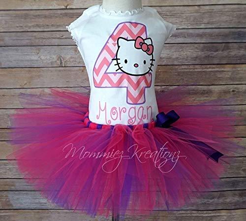 (Hello Kitty Tutu Set,Kitty Chevron Birthday Outfit, Chevron Tutu)