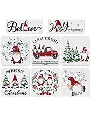 8Pcs Christmas Stencils for Painting on Wood,Large Reusable Christmas Gnome Painting Stencils Including Merry Christmas/Noel/Gnome&Snowflake/Christmas Tree/Truck/Believe/Joy/ Let it Snow Stencil