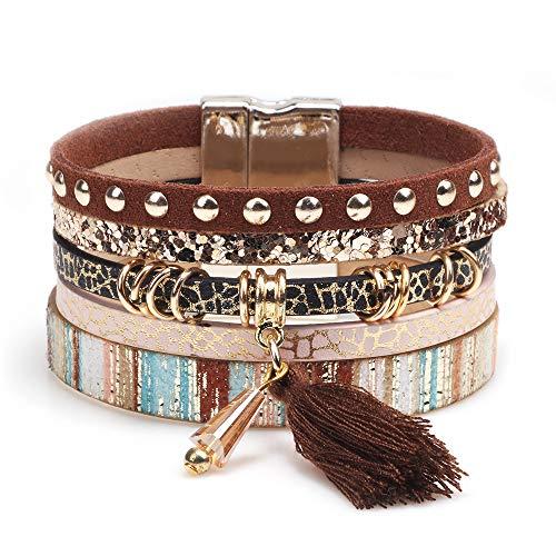 AZORA Multilayer Boho Wrap Leather Bracelet Wide Cuff Handmade Wristbands Wrist Braided Magnetic Buckle Casual Bangle Bracelets for Women, Teen Girl