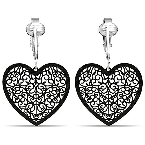 Lovely Victorian Filigree Clip On Earrings for Women Clip-ons, Lightweight Teardrop Leaf Dangle (Black Heart)