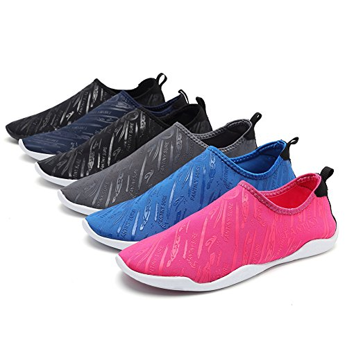 FANTINY Men and Women's Barefoot Quick-Dry Water Sports Aqua Shoes with multiple Drainage Holes for Swim, Walking, Yoga, Lake, Beach, Garden, Park, Driving, Boating,SDF02,Black,43 4