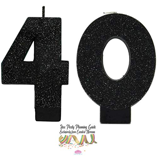 Curated Nirvana Over The Hill 40th Birthday Candle Bundle | #s 4 and 0 in Black Glitter 3.25 Tall
