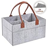 Baby Diaper Caddy Storage Organizer for Beside Nursery Changing Tables Odor-Free Eco Felt Newborn Boys & Girls Essentials Must Haves Shower Gifts Basket - Large Portable Car Travel Organizer