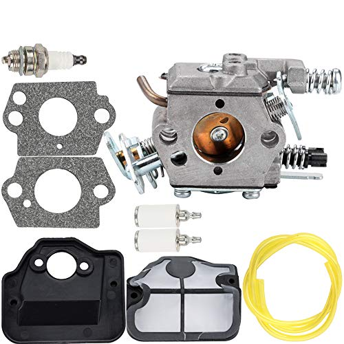 Carburetor Air Filter Fuel Line Spark Plug Parts Kit for Husqvarna 36 41 136 137 137E 141 142 141LE 142E Husky Saw Zama C1Q-W29E Carb WT-834 WT-657 WT-529 WT-289 WT-285 WT-239 WT-202 Engine Chainsaw