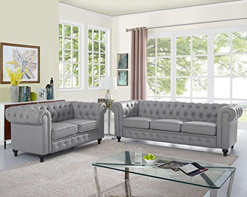 Naomi Home Emery Chesterfield Love Seat & Sofa Gray (Sofa Chesterfield Small In Room Living)