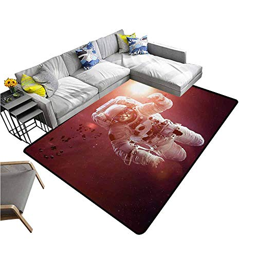 (Carpet for Living Room Space Cat,Pet Cat in Outer Space Planet Meteors Galaxy with Astronaut Suit Image,White Purple and Ruby 80