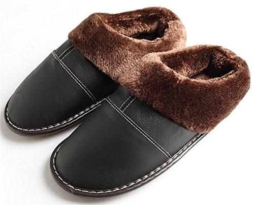 W&XY Zapatillas de casa de cuero Male Espeso forro de piel sintética suave y cómodo y suelas antideslizantes 40