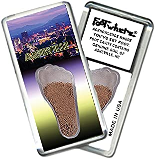 product image for Asheville FootWhere Magnet (ASH204 Twilight). Authentic Destination Souvenir acknowledging Where You've Set Foot. Genuine Soil of Featured Location encased Inside Foot Cavity. Made in USA.