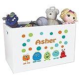 monster inc bin - Personalized Mash Childrens Nursery White Open Toy Box