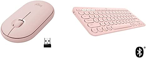 Amazon Com Logitech Pebble M350 Wireless Mouse With Bluetooth Or Usb Pink Rose And Logitech K380 Multi Device Wireless Bluetooth Keyboard For Mac Rose Computers Accessories