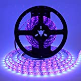 Foxdam Black light Uv/Ultraviolet Led Strip 16.4ft 3528 SMD 300Leds Waterproof IP65 with 12V 2A Power Supply LED Tape