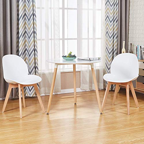 0535a80f6263 GreenForest Dining Table White Modern Round Table with Wood Legs for Kitchen  Living Room Leisure Pedestal Table