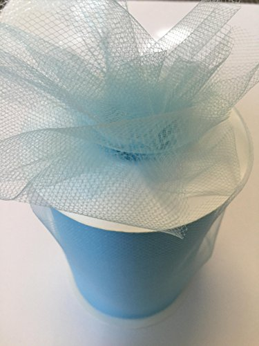 Tulle Fabric Spool/Roll 6 inch x 100 yards (300 feet), 34 Colors Available, On Sale Now! (light blue)