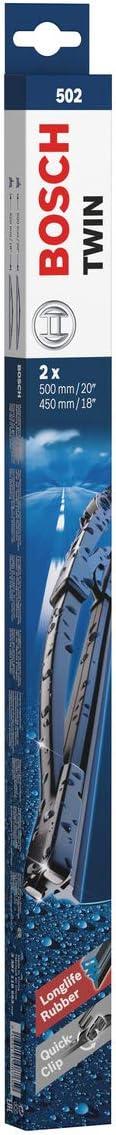 Escobilla limpiaparabrisas Bosch Twin 502, Longitud: 500mm/450mm – 1 juego para el parabrisas (frontal)