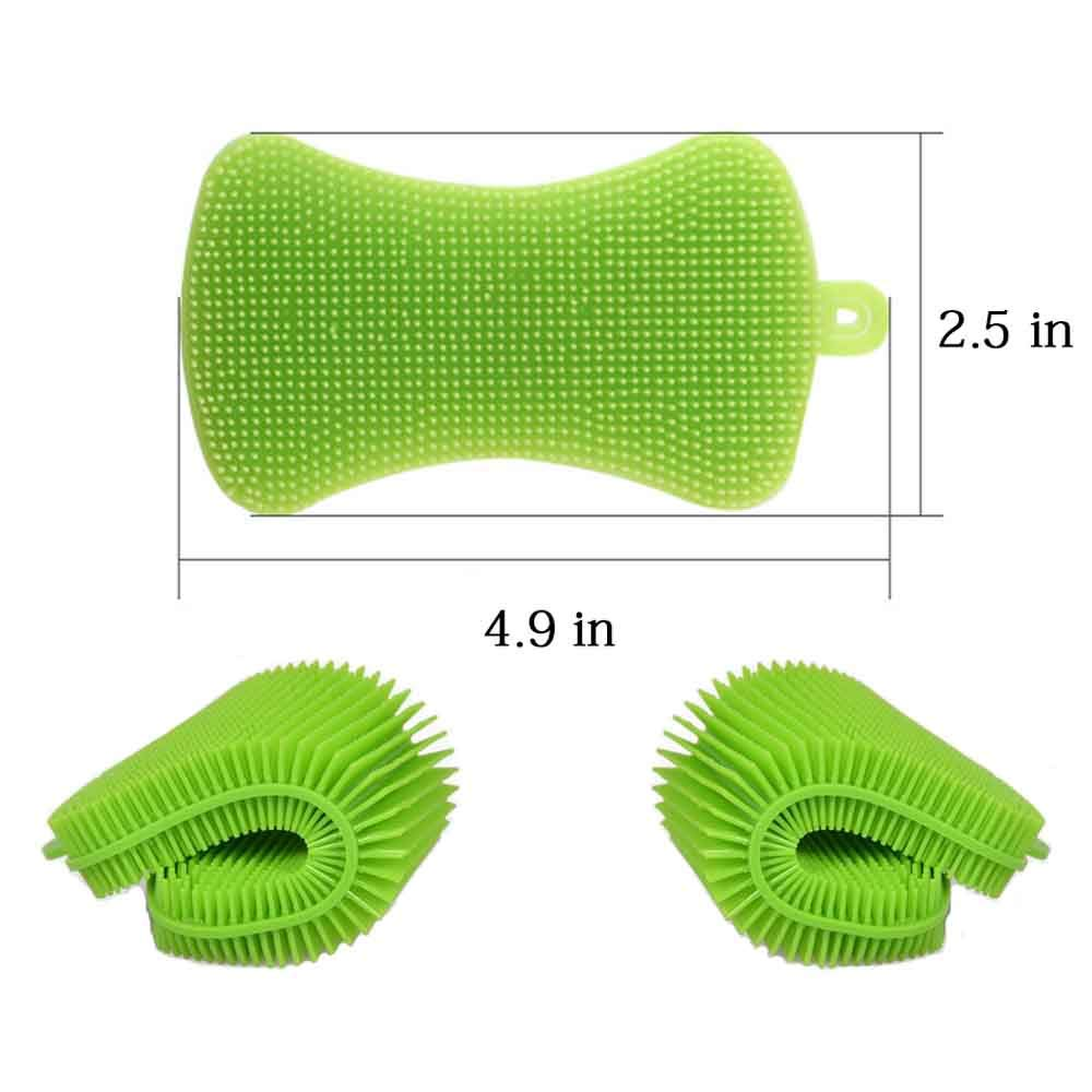 Silicone Sponge Dish Washing Kitchen Scrubber,Easy to Operate,Food-Grade Antibacterial Dish Scrubber | Heat-Resistant Pot Holder | Easy to Handle and Clean Non-Stick Brush(3 Pack) by Donsire (Image #6)