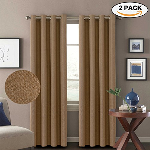 H.Versailtex Thermal Insulated Thick Textured Rich Linen 85% Blackout Extra Long Patio Curtains&Drapes,Antique Grommet Door Panels,52x108 Inch-Tan (Set of 2)