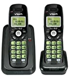 Vtech Dect 6.0 2-Handset Cordless Phone System with Caller ID, Backlit Keypad and Screen(CS6114-21), Black